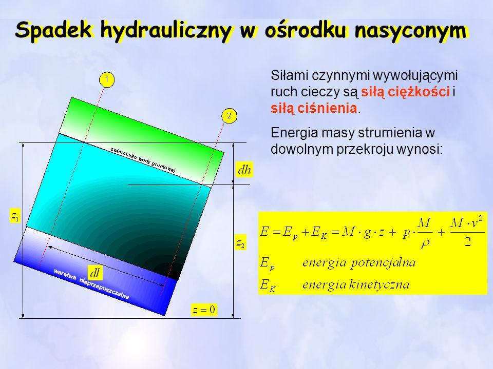 Spadek hydrauliczny w ośrodku nasyconym Siłami czynnymi wywołującymi ruch cieczy są siłą ciężkości i siłą ciśnienia. Energia masy strumienia w dowolny