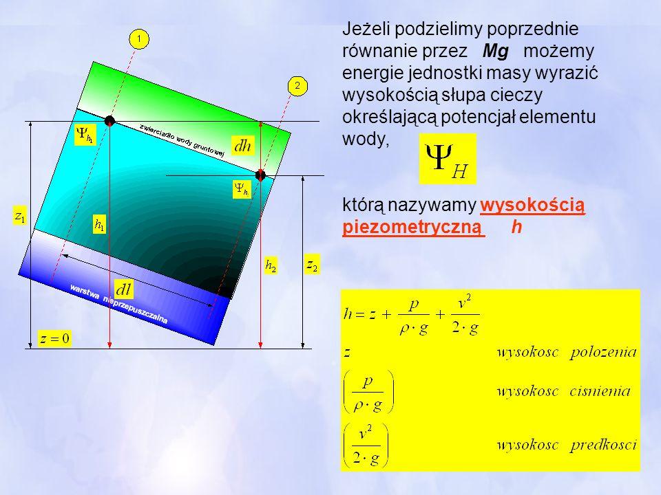 Jeżeli podzielimy poprzednie równanie przez Mg możemy energie jednostki masy wyrazić wysokością słupa cieczy określającą potencjał elementu wody, któr