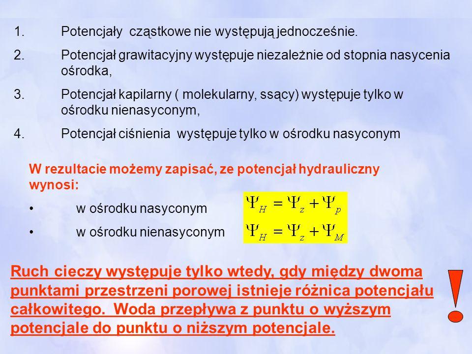 1.Potencjały cząstkowe nie występują jednocześnie. 2.Potencjał grawitacyjny występuje niezależnie od stopnia nasycenia ośrodka, 3.Potencjał kapilarny