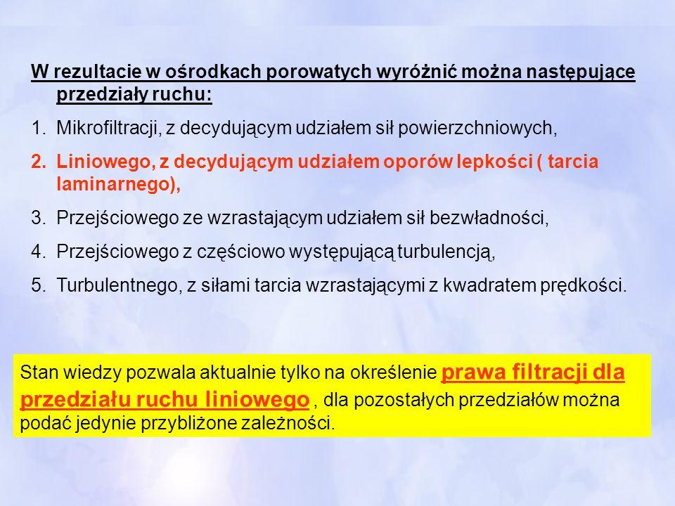 W rezultacie w ośrodkach porowatych wyróżnić można następujące przedziały ruchu: 1.Mikrofiltracji, z decydującym udziałem sił powierzchniowych, 2.Lini