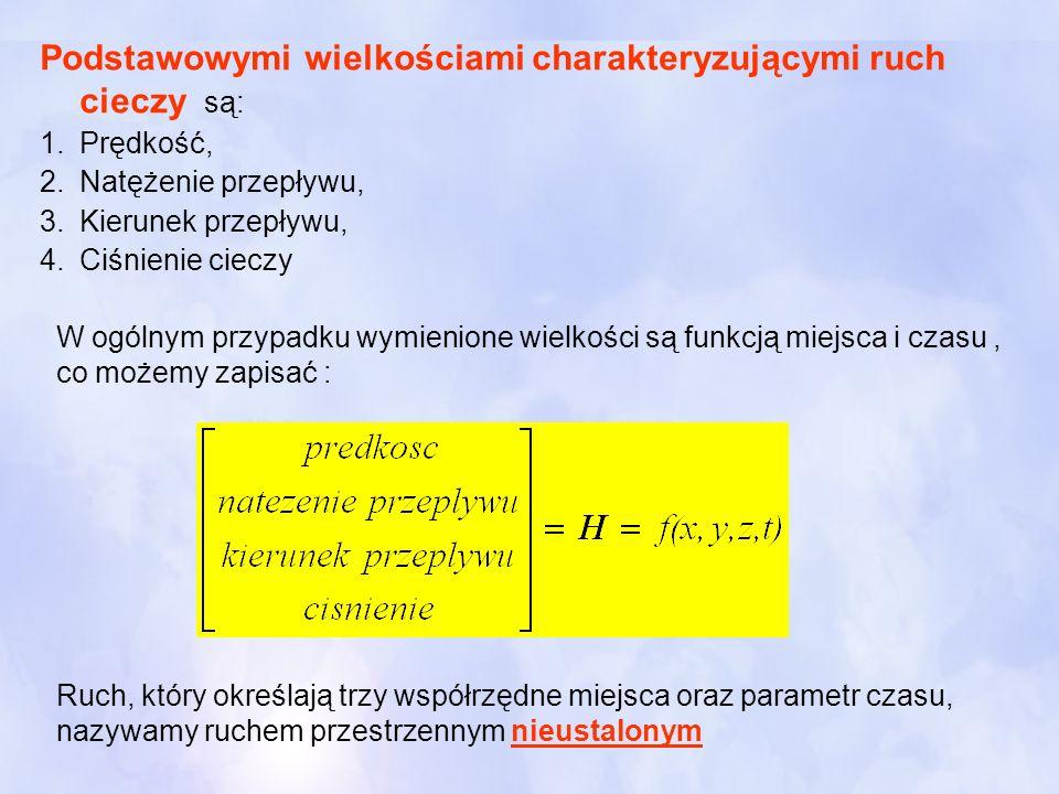 Podstawowymi wielkościami charakteryzującymi ruch cieczy są: 1.Prędkość, 2.Natężenie przepływu, 3.Kierunek przepływu, 4.Ciśnienie cieczy W ogólnym prz