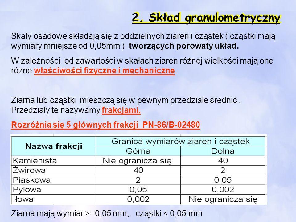 2. Skład granulometryczny Skały osadowe składają się z oddzielnych ziaren i cząstek ( cząstki mają wymiary mniejsze od 0,05mm ) tworzących porowaty uk