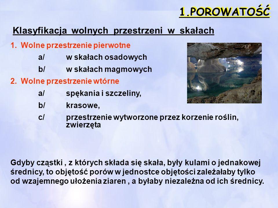 1.POROWATOŚĆ Klasyfikacja wolnych przestrzeni w skałach 1.Wolne przestrzenie pierwotne a/w skałach osadowych b/w skałach magmowych 2.Wolne przestrzeni