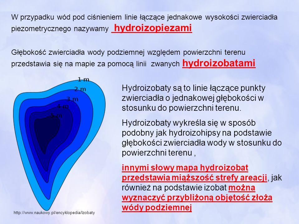 W przypadku wód pod ciśnieniem linie łączące jednakowe wysokości zwierciadła piezometrycznego nazywamy hydroizopiezami Głębokość zwierciadła wody podz