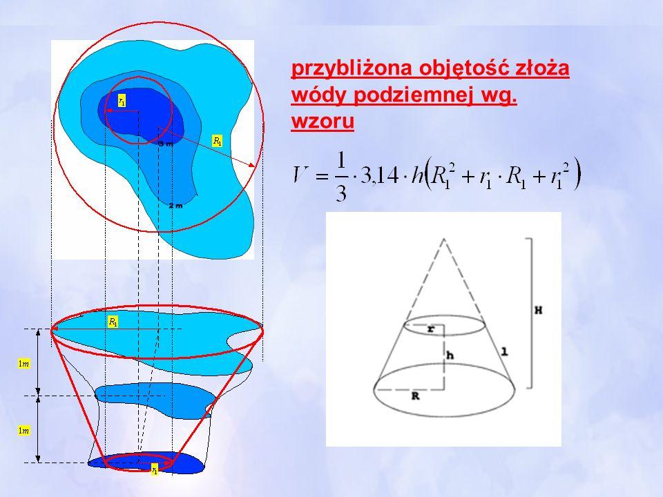 przybliżona objętość złoża wódy podziemnej wg. wzoru