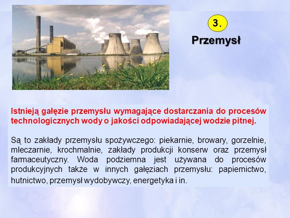 Przemysł Istnieją gałęzie przemysłu wymagające dostarczania do procesów technologicznych wody o jakości odpowiadającej wodzie pitnej. Są to zakłady pr