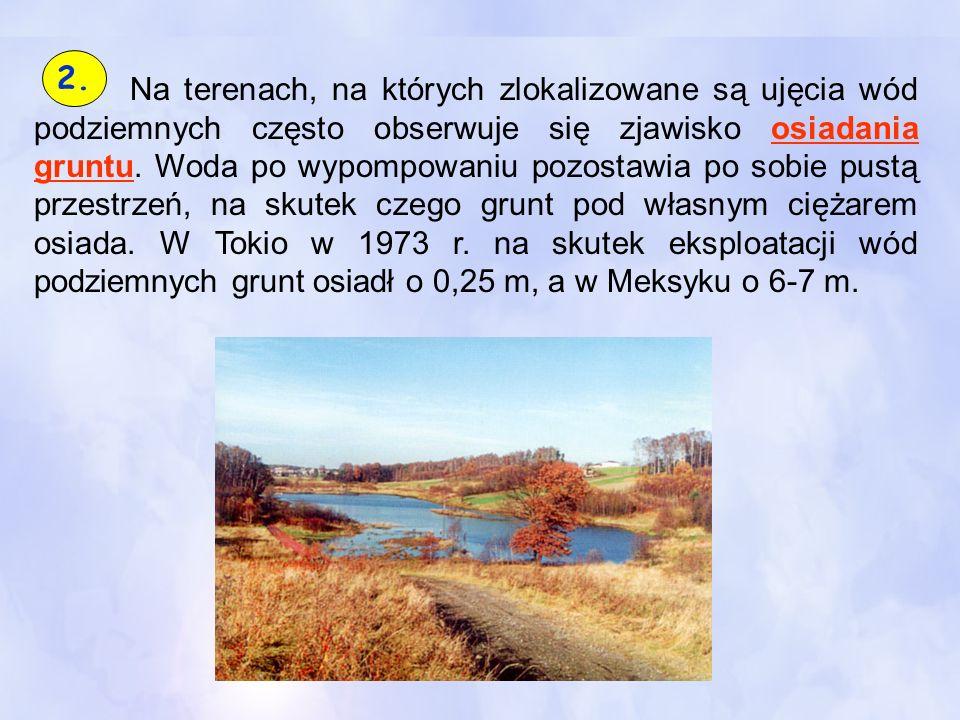 Na terenach, na których zlokalizowane są ujęcia wód podziemnych często obserwuje się zjawisko osiadania gruntu. Woda po wypompowaniu pozostawia po sob
