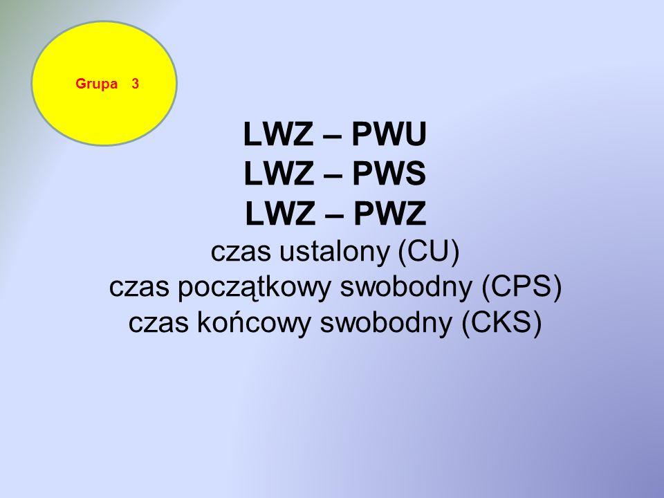 LWZ – PWU LWZ – PWS LWZ – PWZ czas ustalony (CU) czas początkowy swobodny (CPS) czas końcowy swobodny (CKS) Grupa 3