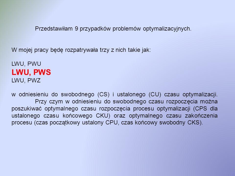 Przedstawiłam 9 przypadków problemów optymalizacyjnych. W mojej pracy będę rozpatrywała trzy z nich takie jak: LWU, PWU LWU, PWS LWU, PWZ w odniesieni