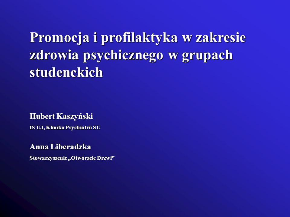 Promocja i profilaktyka w zakresie zdrowia psychicznego w grupach studenckich Hubert Kaszyński IS UJ, Klinika Psychiatrii SU Anna Liberadzka Stowarzys