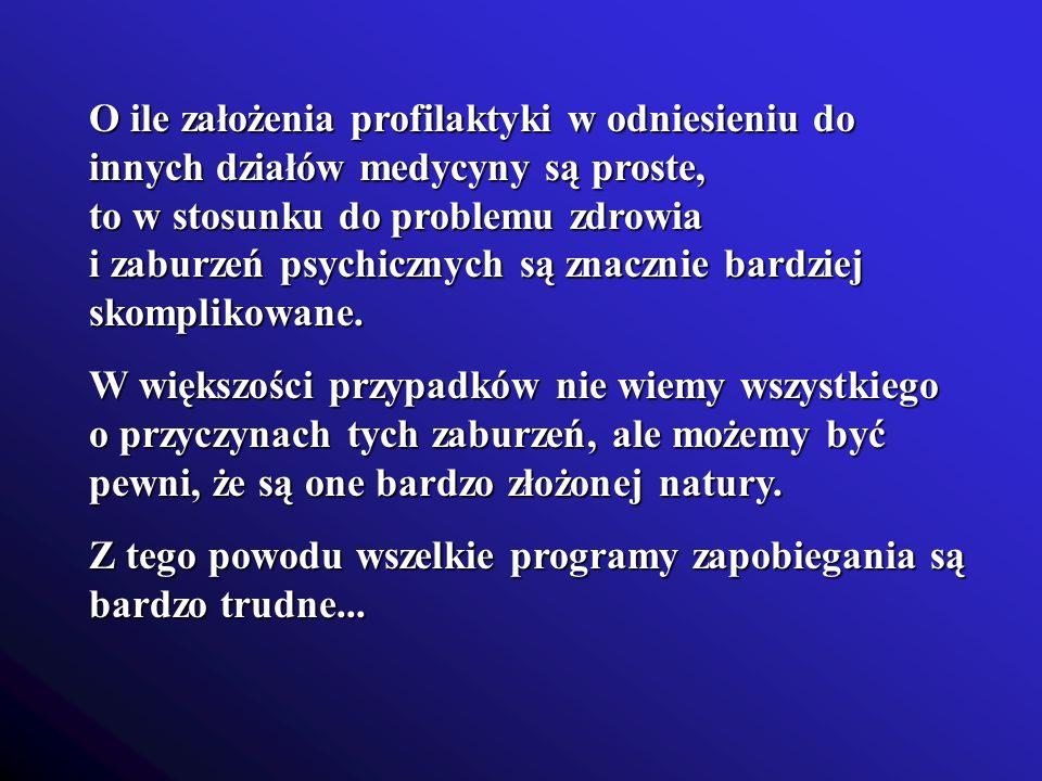 O ile założenia profilaktyki w odniesieniu do innych działów medycyny są proste, to w stosunku do problemu zdrowia i zaburzeń psychicznych są znacznie