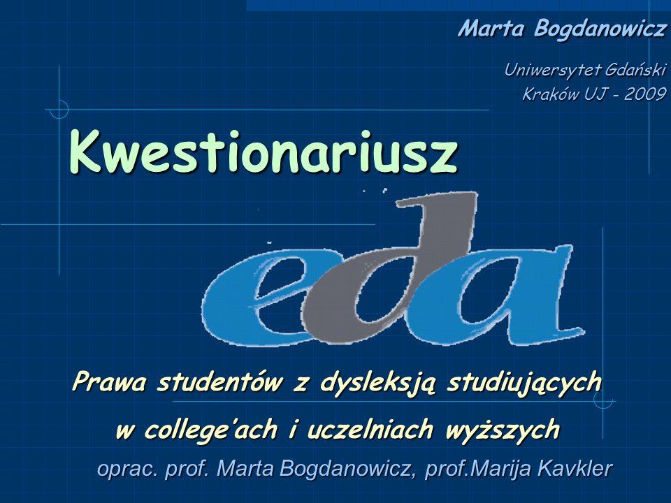 Kraje i organizacje biorące udział w badaniu Kraj Nazwa organizacji Czechy Czech Dyslexia Association Czechy Czechy Primary School of prof.