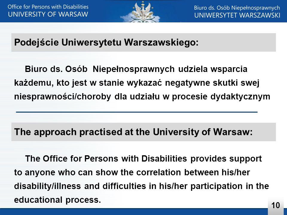 Podejście Uniwersytetu Warszawskiego: Biuro ds. Osób Niepełnosprawnych udziela wsparcia każdemu, kto jest w stanie wykazać negatywne skutki swej niesp