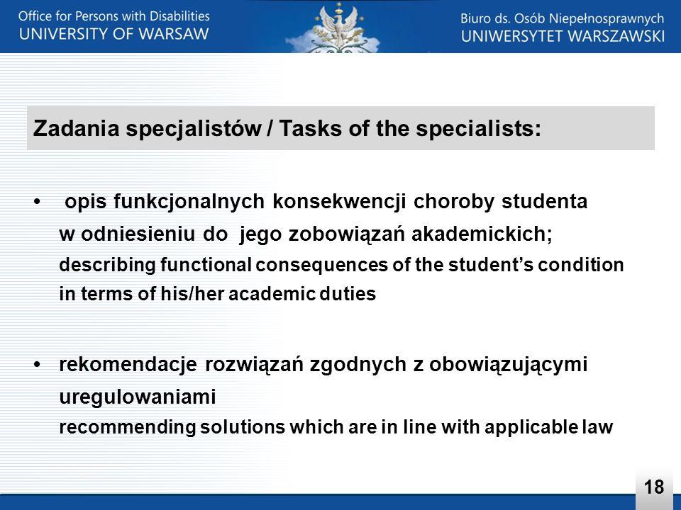 Zadania specjalistów / Tasks of the specialists: opis funkcjonalnych konsekwencji choroby studenta w odniesieniu do jego zobowiązań akademickich; desc