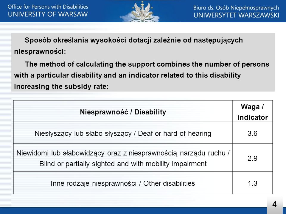 Konsekwencją tych zapisów jest koncentracja na potrzebach osób z niesprawnościami fizycznymi As a consequence, there is focus on the needs of students with physical disabilities 5