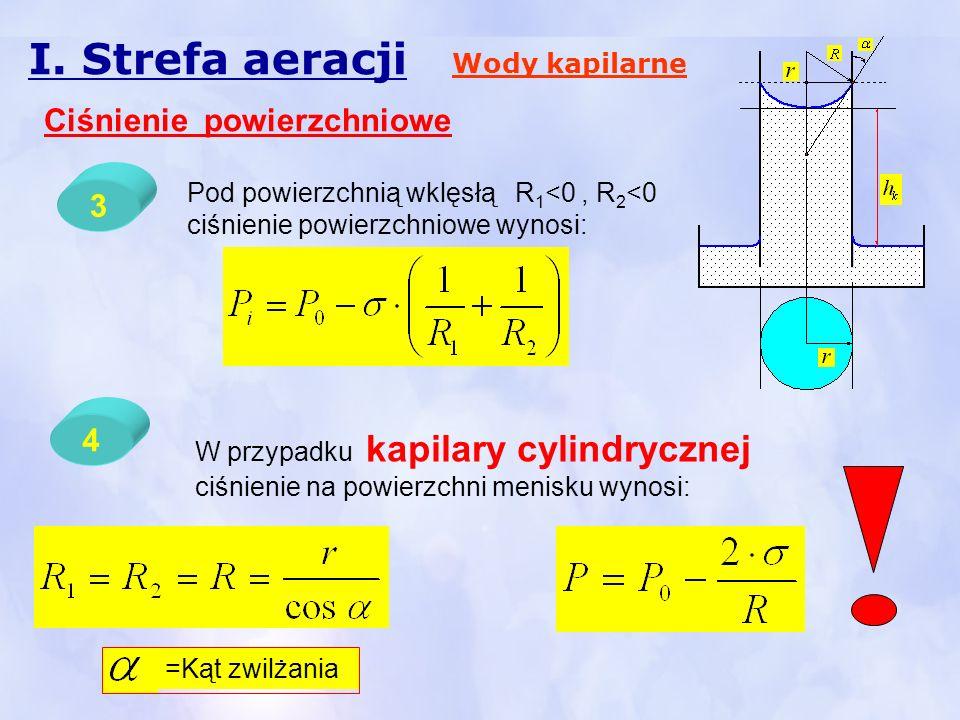 I. Strefa aeracji Wody kapilarne Ciśnienie powierzchniowe Pod powierzchnią wklęsłą R 1 <0, R 2 <0 ciśnienie powierzchniowe wynosi: 3 4 W przypadku kap