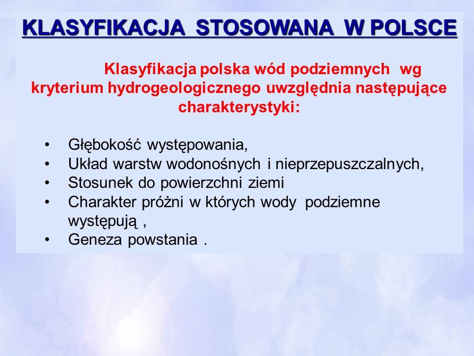 KLASYFIKACJA STOSOWANA W POLSCE KLASYFIKACJA STOSOWANA W POLSCE Klasyfikacja polska wód podziemnych wg kryterium hydrogeologicznego uwzględnia następu