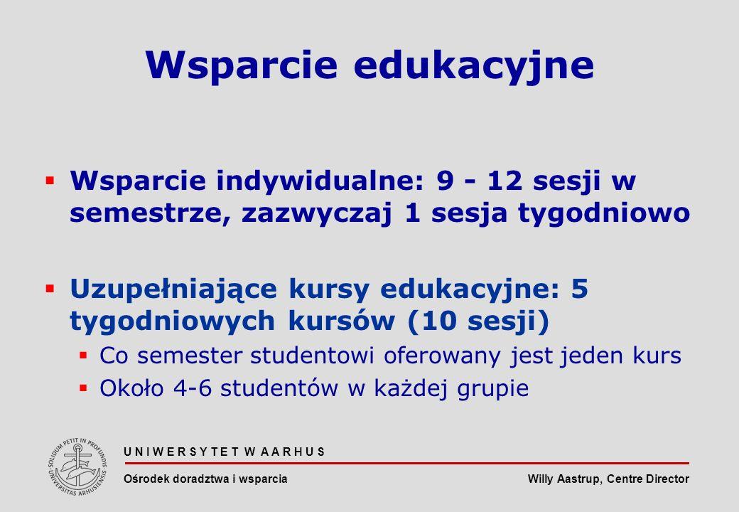 Willy Aastrup, Centre Director U N I W E R S Y T E T W A A R H U S Ośrodek doradztwa i wsparcia Wsparcie edukacyjne Wsparcie indywidualne: 9 - 12 sesji w semestrze, zazwyczaj 1 sesja tygodniowo Uzupełniające kursy edukacyjne: 5 tygodniowych kursów (10 sesji) Co semester studentowi oferowany jest jeden kurs Około 4-6 studentów w każdej grupie