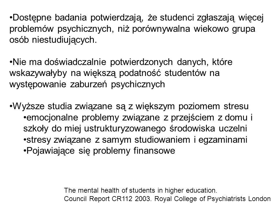 Dostępne badania potwierdzają, że studenci zgłaszają więcej problemów psychicznych, niż porównywalna wiekowo grupa osób niestudiujących. Nie ma doświa