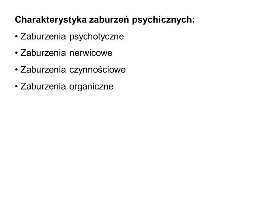 Charakterystyka zaburzeń psychicznych: Zaburzenia psychotyczne Zaburzenia nerwicowe Zaburzenia czynnościowe Zaburzenia organiczne