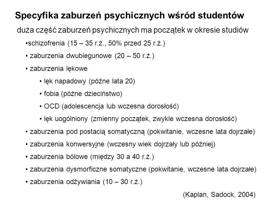 Specyfika zaburzeń psychicznych wśród studentów duża część zaburzeń psychicznych ma początek w okresie studiów schizofrenia (15 – 35 r.ż., 50% przed 2