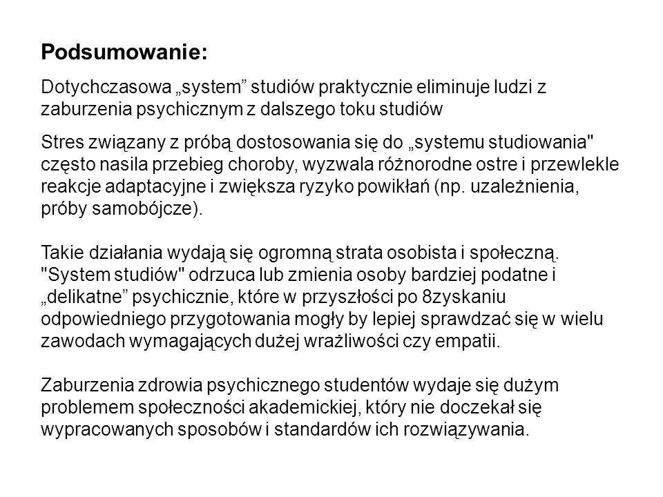 Podsumowanie: Dotychczasowa system studiów praktycznie eliminuje ludzi z zaburzenia psychicznym z dalszego toku studiów Stres związany z próbą dostoso