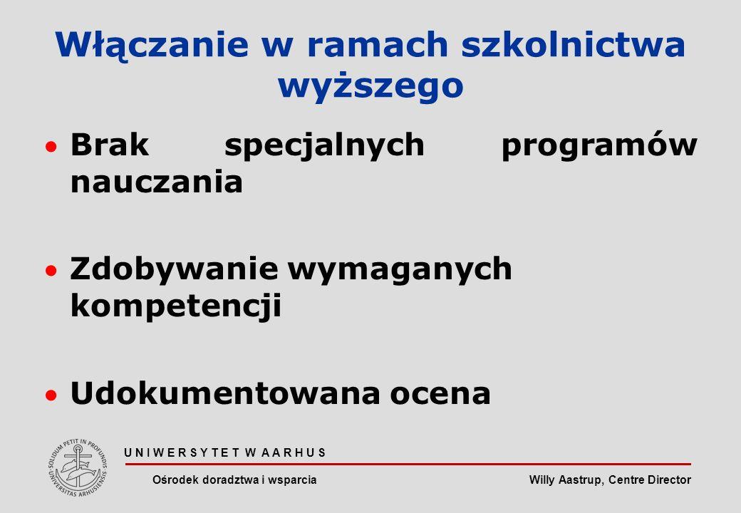 Willy Aastrup, Centre Director U N I W E R S Y T E T W A A R H U S Ośrodek doradztwa i wsparcia Włączanie w ramach szkolnictwa wyższego Brak specjalnych programów nauczania Zdobywanie wymaganych kompetencji Udokumentowana ocena