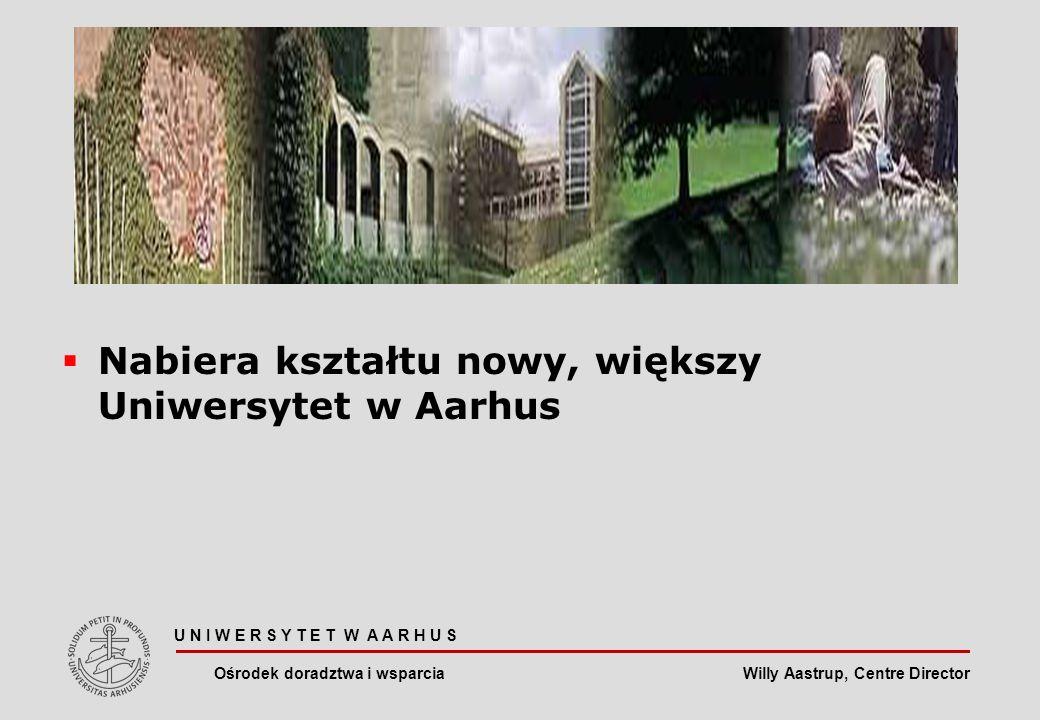 Willy Aastrup, Centre Director Nabiera kształtu nowy, większy Uniwersytet w Aarhus U N I W E R S Y T E T W A A R H U S Ośrodek doradztwa i wsparcia