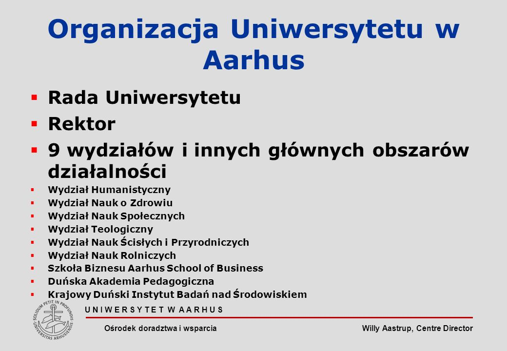 Willy Aastrup, Centre Director U N I W E R S Y T E T W A A R H U S Ośrodek doradztwa i wsparcia Proces boloński Standardy i wytyczne dotyczące zapewnienia jakości Rozwijanie konkretnych umiejętności Możliwość zatrudnienia!!