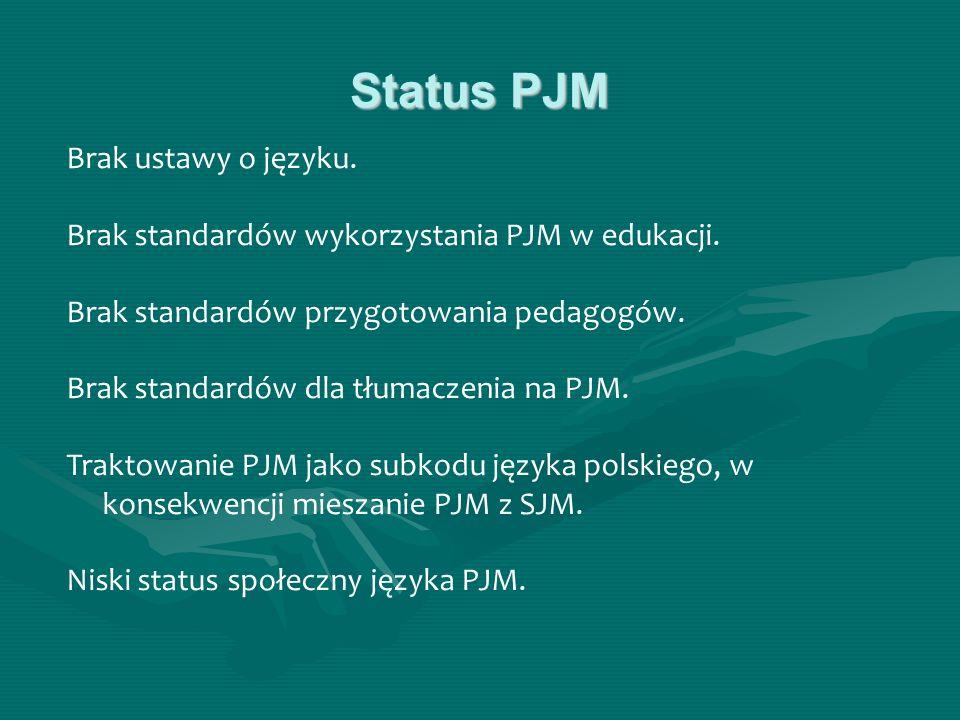 Status PJM Brak ustawy o języku. Brak standardów wykorzystania PJM w edukacji. Brak standardów przygotowania pedagogów. Brak standardów dla tłumaczeni
