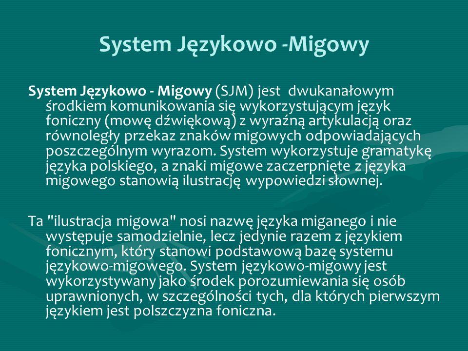 System Językowo -Migowy System Językowo - Migowy (SJM) jest dwukanałowym środkiem komunikowania się wykorzystującym język foniczny (mowę dźwiękową) z