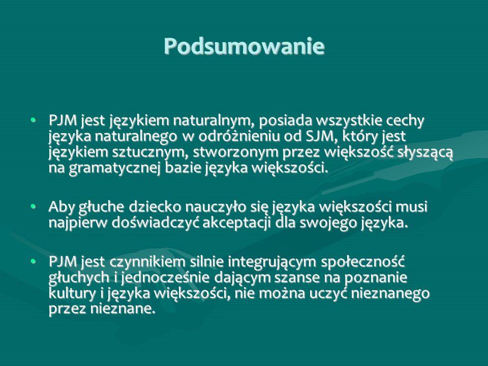 Podsumowanie PJM jest językiem naturalnym, posiada wszystkie cechy języka naturalnego w odróżnieniu od SJM, który jest językiem sztucznym, stworzonym