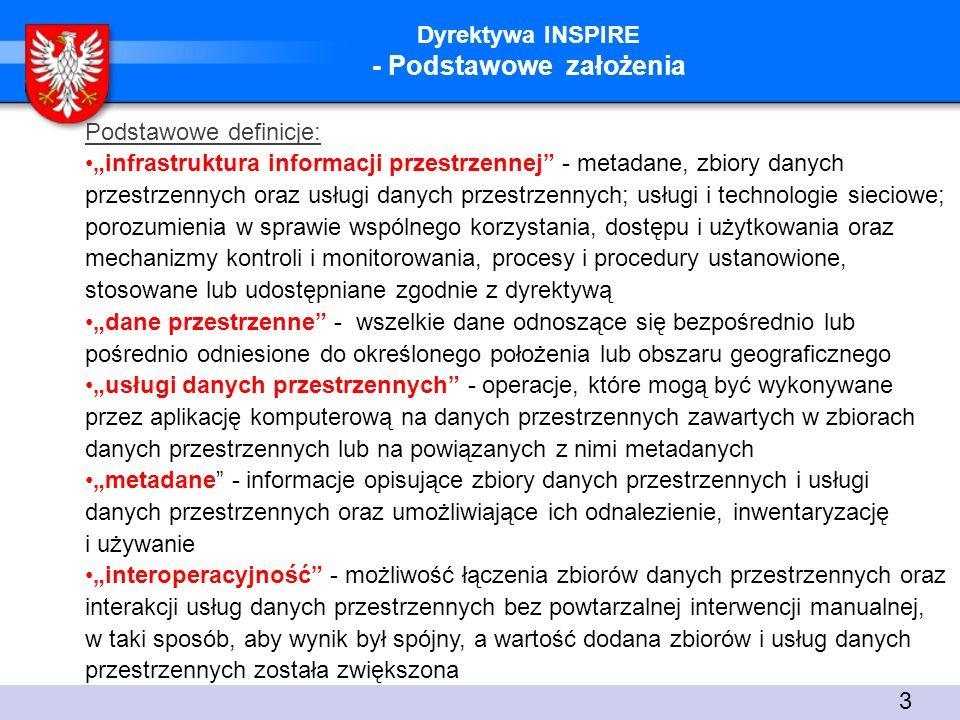 Dyrektywa INSPIRE - Podsumowanie Infrastruktura informacji przestrzennej opiera się na: 1)interoperacyjności - współdziałaniu: technicznym, organizacyjnym, semantycznym, 2) partnerstwie, 3) transparentności funkcjonowania organów administracji publicznej