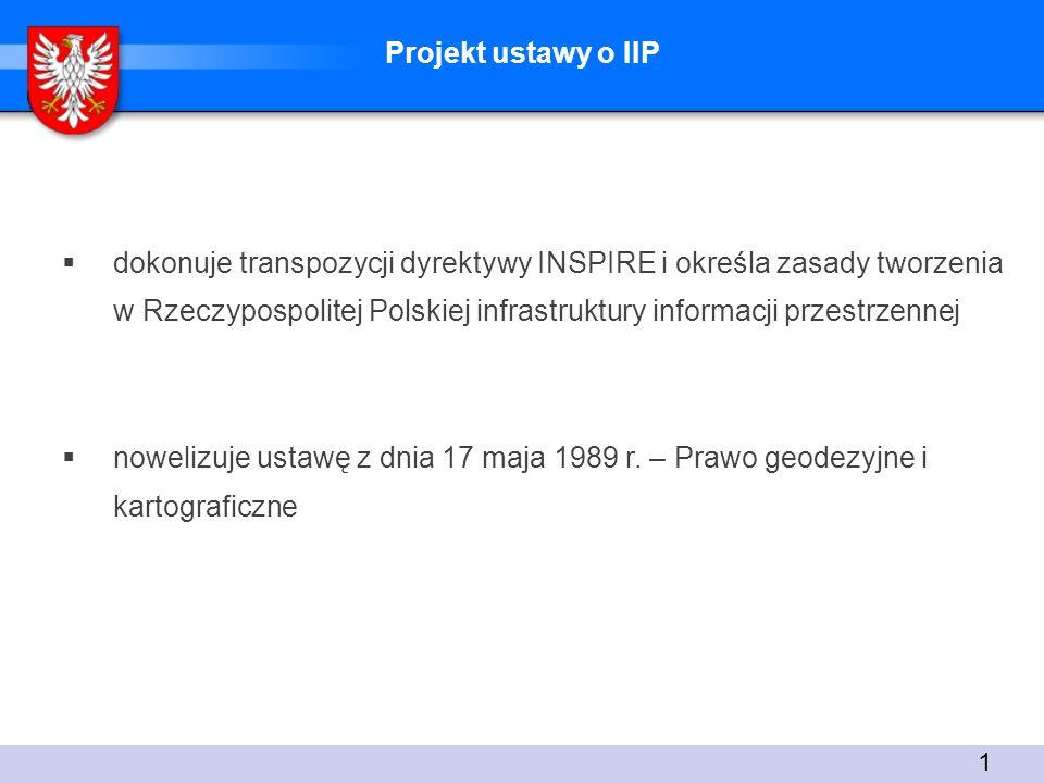 Projekt ustawy o IIP dokonuje transpozycji dyrektywy INSPIRE i określa zasady tworzenia w Rzeczypospolitej Polskiej infrastruktury informacji przestrzennej nowelizuje ustawę z dnia 17 maja 1989 r.