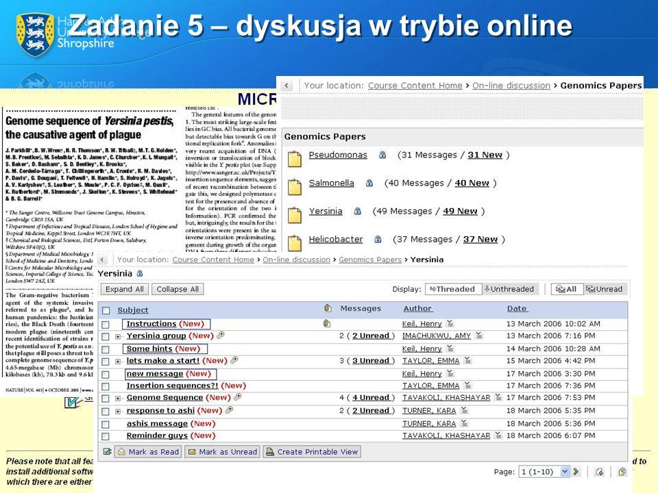 Zadanie 5 – dyskusja w trybie online