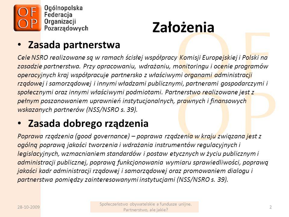 Założenia Zasada partnerstwa Cele NSRO realizowane są w ramach ścisłej współpracy Komisji Europejskiej i Polski na zasadzie partnerstwa.