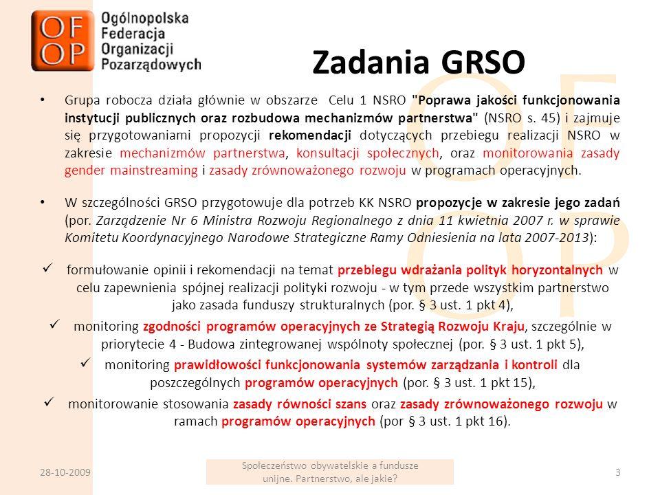 Zadania GRSO Grupa robocza działa głównie w obszarze Celu 1 NSRO Poprawa jakości funkcjonowania instytucji publicznych oraz rozbudowa mechanizmów partnerstwa (NSRO s.