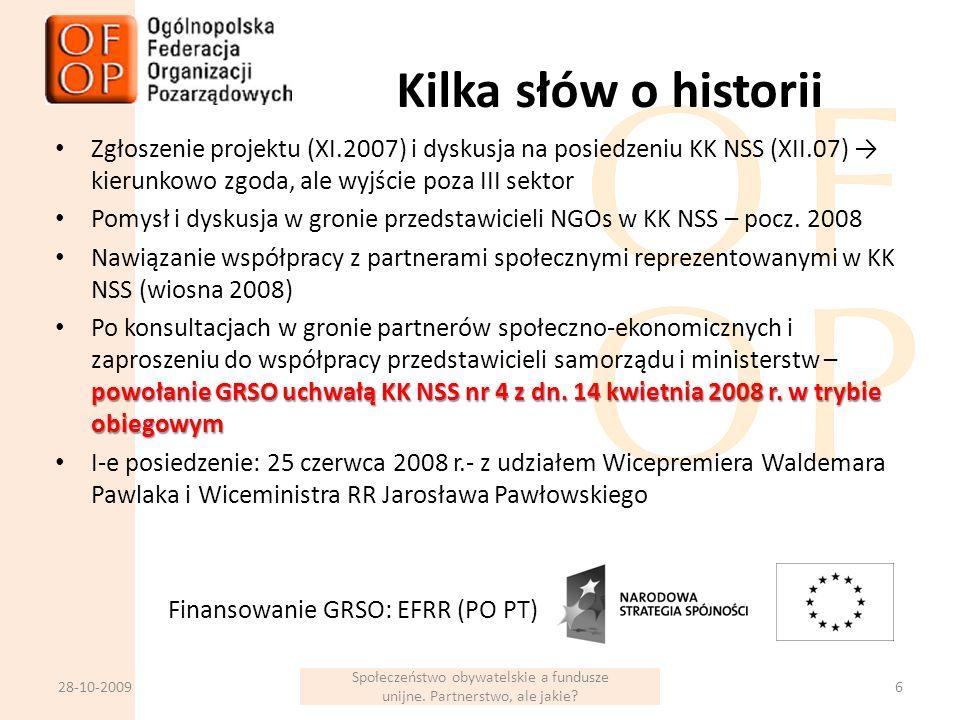 Kilka słów o historii Zgłoszenie projektu (XI.2007) i dyskusja na posiedzeniu KK NSS (XII.07) kierunkowo zgoda, ale wyjście poza III sektor Pomysł i dyskusja w gronie przedstawicieli NGOs w KK NSS – pocz.
