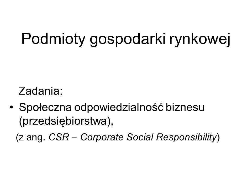 Podmioty gospodarki rynkowej Zadania: Społeczna odpowiedzialność biznesu (przedsiębiorstwa), (z ang. CSR – Corporate Social Responsibility)