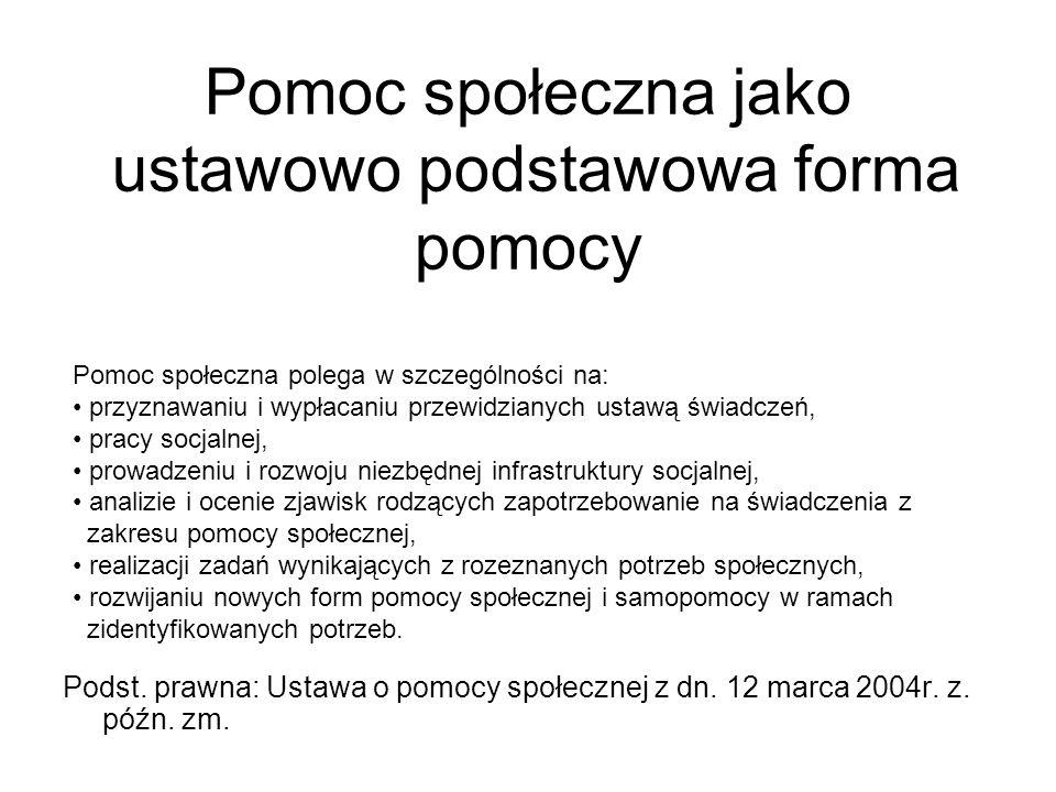 Pomoc społeczna jako ustawowo podstawowa forma pomocy Podst. prawna: Ustawa o pomocy społecznej z dn. 12 marca 2004r. z. późn. zm. Pomoc społeczna pol