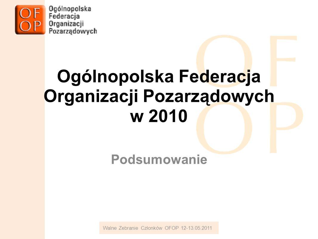 Ogólnopolska Federacja Organizacji Pozarządowych w 2010 Podsumowanie Walne Zebranie Członków OFOP 12-13.05.2011