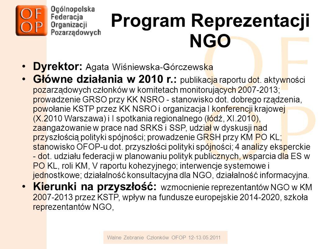 Program Reprezentacji NGO Dyrektor: Agata Wiśniewska-Górczewska Główne działania w 2010 r.: publikacja raportu dot.