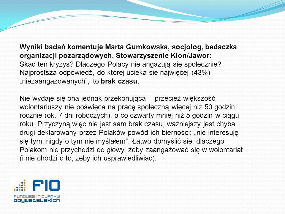 Wyniki badań komentuje Marta Gumkowska, socjolog, badaczka organizacji pozarządowych, Stowarzyszenie Klon/Jawor: Skąd ten kryzys? Dlaczego Polacy nie