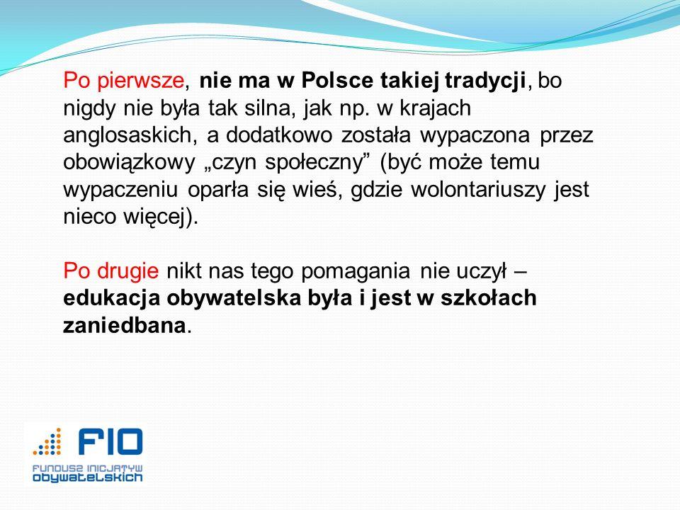 Po pierwsze, nie ma w Polsce takiej tradycji, bo nigdy nie była tak silna, jak np. w krajach anglosaskich, a dodatkowo została wypaczona przez obowiąz