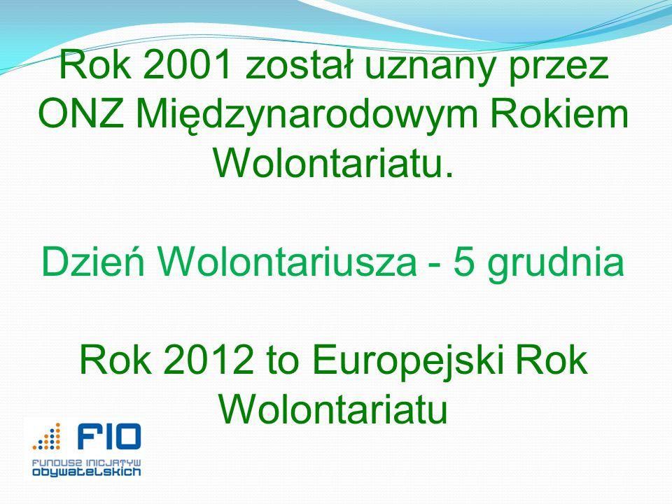 Rok 2001 został uznany przez ONZ Międzynarodowym Rokiem Wolontariatu. Dzień Wolontariusza - 5 grudnia Rok 2012 to Europejski Rok Wolontariatu