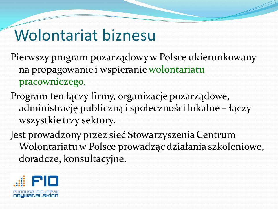 Wolontariat biznesu Pierwszy program pozarządowy w Polsce ukierunkowany na propagowanie i wspieranie wolontariatu pracowniczego. Program ten łączy fir