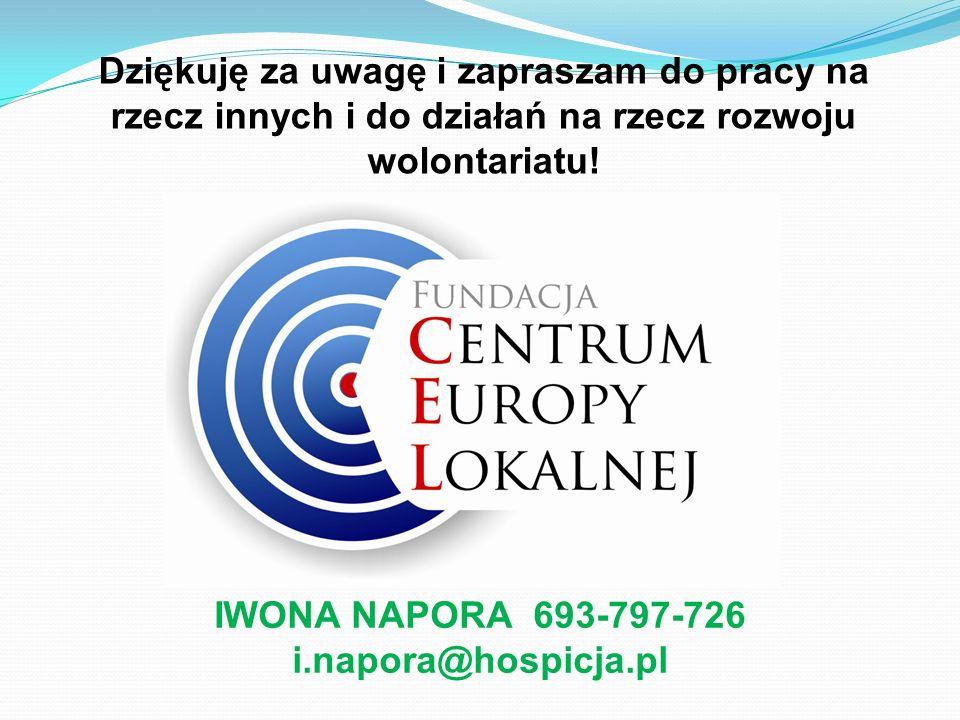 IWONA NAPORA 693-797-726 i.napora@hospicja.pl Dziękuję za uwagę i zapraszam do pracy na rzecz innych i do działań na rzecz rozwoju wolontariatu!