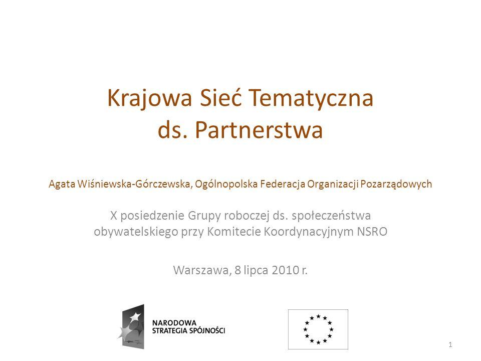 Krajowa Sieć Tematyczna ds. Partnerstwa Agata Wiśniewska-Górczewska, Ogólnopolska Federacja Organizacji Pozarządowych X posiedzenie Grupy roboczej ds.