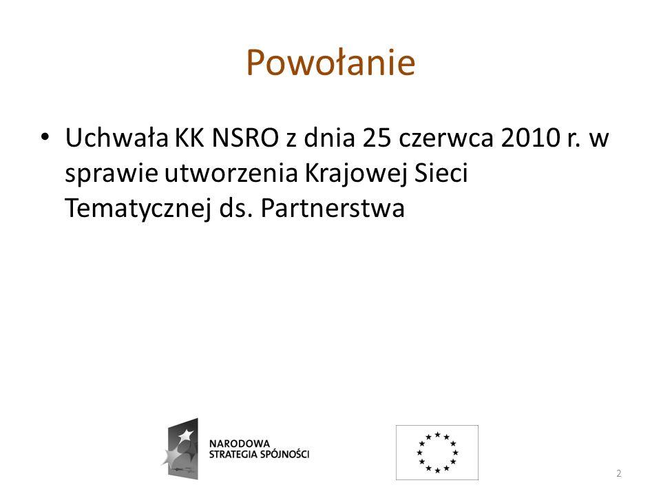 Powołanie Uchwała KK NSRO z dnia 25 czerwca 2010 r. w sprawie utworzenia Krajowej Sieci Tematycznej ds. Partnerstwa 2