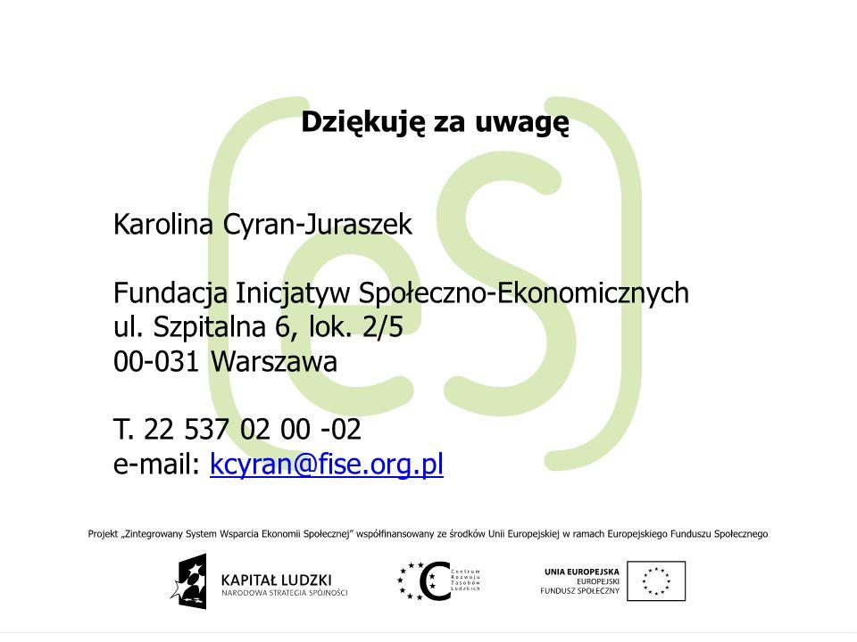 Dziękuję za uwagę Karolina Cyran-Juraszek Fundacja Inicjatyw Społeczno-Ekonomicznych ul. Szpitalna 6, lok. 2/5 00-031 Warszawa T. 22 537 02 00 -02 e-m